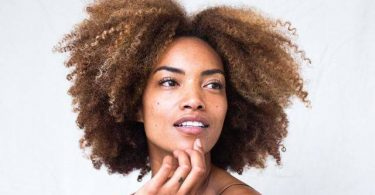 Young African american model with long afro hair